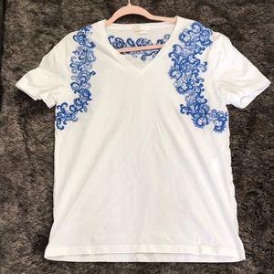Alexander McQueen blue white embroidered v neck L